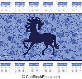 Calendario para 2014 con un caballo en un fondo azul