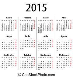 calendario, primero, mondays, 2015., español