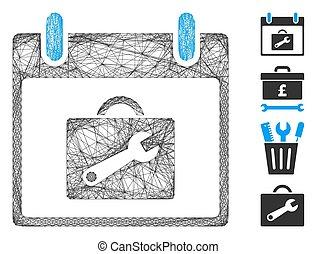 calendario, red, día, malla, vector, caja de herramientas