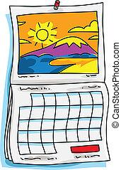 calendario, soleado