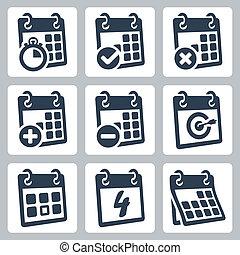 calendario, vector, conjunto, aislado, iconos