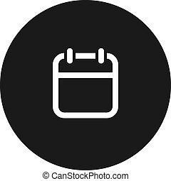 calendario, vector, icon., fondo blanco, aislado, símbolo
