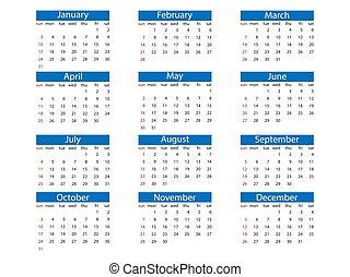 calendario, vector, sunday., semana, design., 2021, ilustración, plano, comienzos