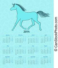 Calendario vectorial de 2014 años con un caballo azul