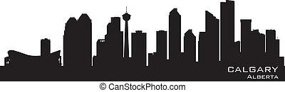 Calgary, canada Skyline. Silueta detallada