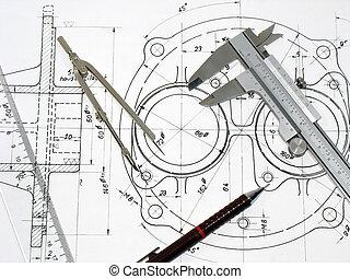 Calibre, brújula, soberano y lápiz en dibujo técnico