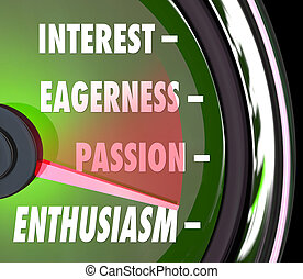 Calibre de nivel de interés del entusiasmo, velocímetro de pasión