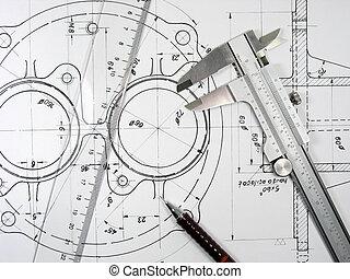 Calibre, soberano y lápiz en dibujos técnicos
