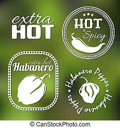 caliente, etiquetas, pimienta, extra