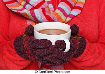 caliente, mujer, jarra, tenencia, chocolate