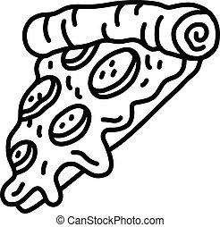 caliente, rebanada, caricatura, pizza