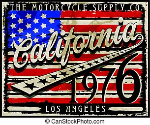California Amarican Flag retro estilo vector de diseño gráfico arte