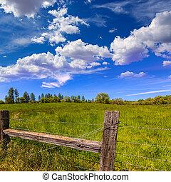 California Meadow Ranch en un día azul cielo primaveral