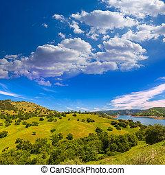 California Meadows Hill y Lake en un cielo azul primavera