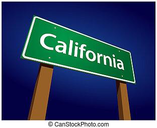 california, verde, camino, ilustración, señal