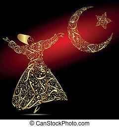 Caligrafía, derviche, luna y estrella