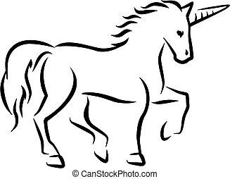caligraphy, unicornio