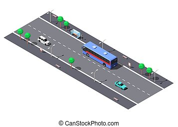 Calle City con dos carriles y parada de autobús. Ilustración de vectores idígenas