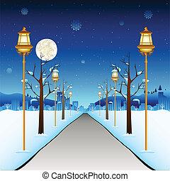 calle, invierno