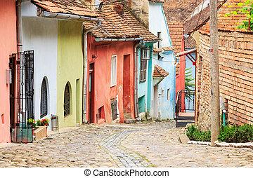 calle, medieval, fundado, colonists, sighisoara, saxon, vista