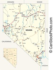 Calles Nevada y mapa administrativo con carreteras interestatales y carreteras principales