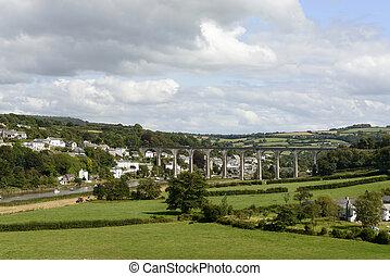 calstock, ferrocarril, encima, puente, tamar, cornwall