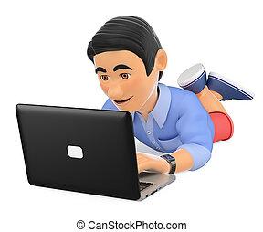 calzoncillos, computador portatil, joven, abajo, hombre, acostado, 3d