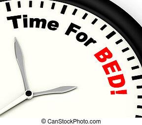 cama, actuación, insomnio, tiempo, cansancio, o
