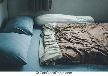 cama, cómodo, dormitorio