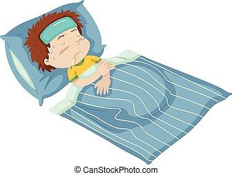 cama, niño, está enfermo