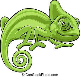 camaleón, caricatura, carácter