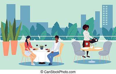 camareros, cenar, toma, al aire libre, lujo, restaurante, orden, gente, upscale