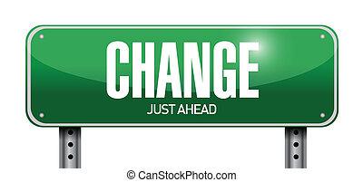 cambio, diseño, camino, ilustración, señal