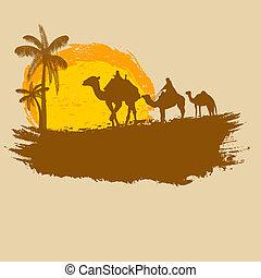 Camel y palmas sobre fondo grunge