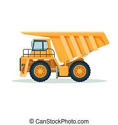 Camión amarillo volcado con un gran cuerpo vacío y una cabaña pequeña