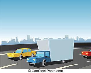 camión, caricatura, carretera