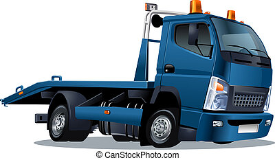 camión, caricatura, remolque