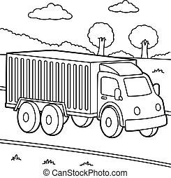 camión, colorido, página