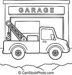 camión, colorido, remolque, página