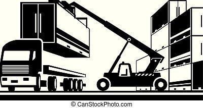 camión, contenedor carga, carretilla elevadora, carga