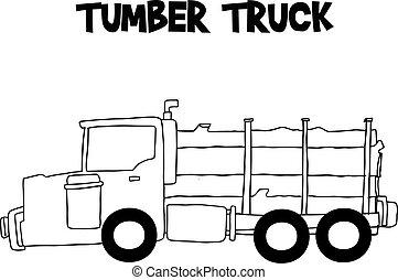 Camión de madera a mano