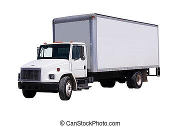 Camión de reparto blanco aislado