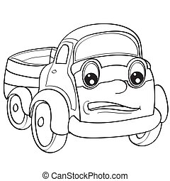 camión, ilustración, ojos, colorido, objeto, plano de fondo, blanco, bosquejo, vector, grande, aislado, carácter