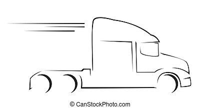 camión, ilustración, símbolo, vector
