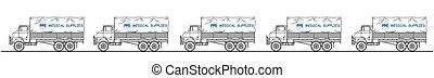 camión, médico, representación, suministros, convoy