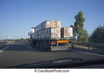 camión, materiales de construcción, atrás, conducción