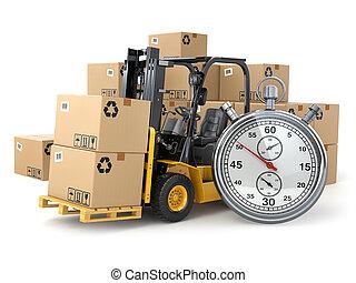 Camión montacargas con cajas y cronómetro