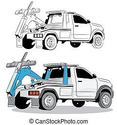 camión, remolque, dibujo