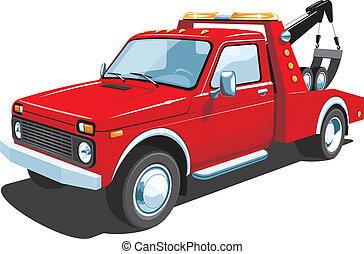 camión, remolque, rojo