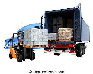 camión, sombra, materiales, moderno, plano de fondo, carga, edificio, paleta, no, carretilla elevadora, descargar, concepto, aislado, render, 3d, carga, blanco, azul, tractor